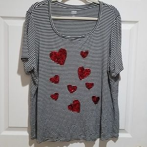 Black and White Stripes with Red Hearts
